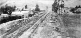 Paeroa 1897. Wooden tram-lines on Normanby Rd.