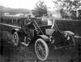 Mr and Mrs W. Medhurst, Queen St, Paeroa in 1912. Studebaker Roadster.